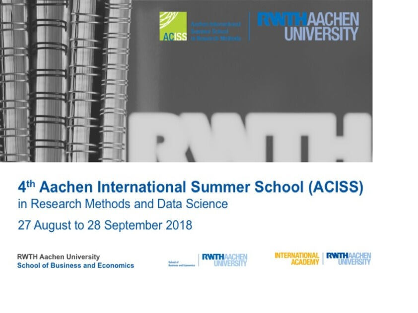 4th aachen international summer school rwth aachen university fakult t f r for Nc wirtschaftswissenschaften