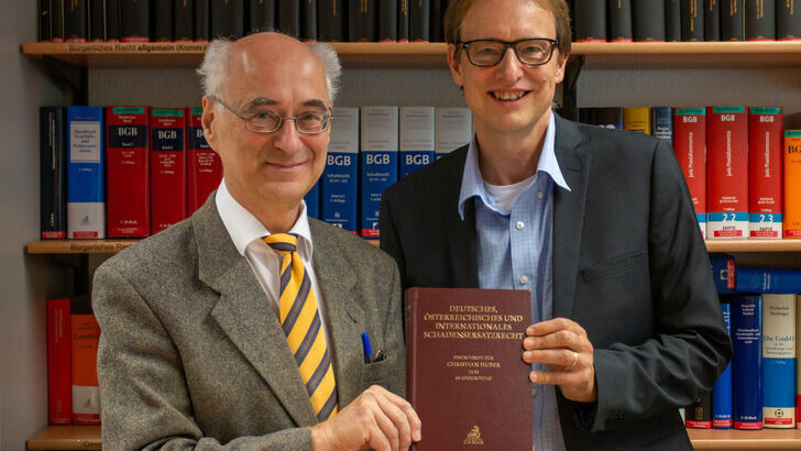 Prof. Huber and Prof. Letmathe with the Festschrift